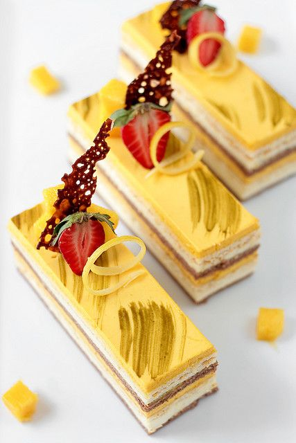 Chocolate Coconut  Mango Entremet  Looks intense but I want to try it :)