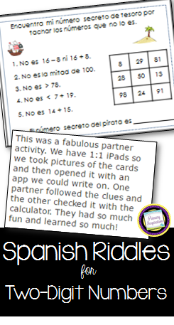 Spanish Math Riddle Task Cards for Two-Digit Numbers
