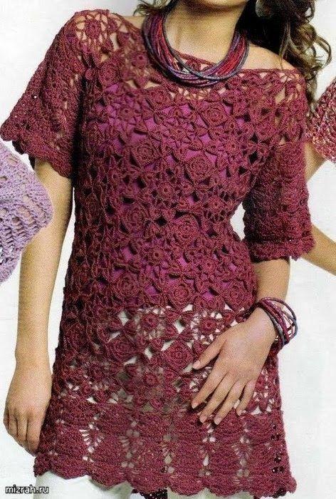 Vestido con grannys al crochet | Crochet- | Pinterest | Patrón ...