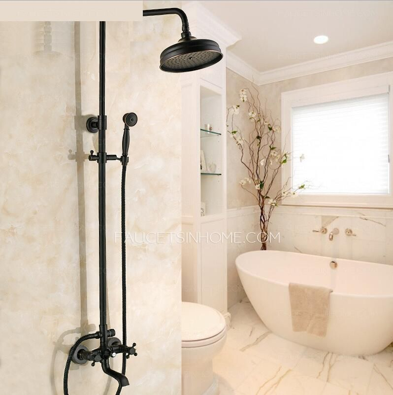 Black Oil Rubbed Bronze Cross Handle Exposed Shower Faucets System ...