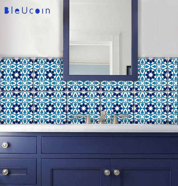Indigo blue Moroccan Tile/Wall/Stair/ Floor Stickers, Removable ...