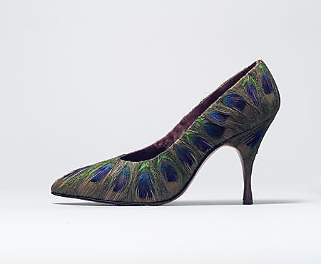 Shoes, Evening  Beth Levine (American, born Patchogue, New York 1914–2006 New York City)  Date: 1958 Culture: American Medium: feathers, leather Dimensions: Heel to Toe: 10 in. (25.4 cm)