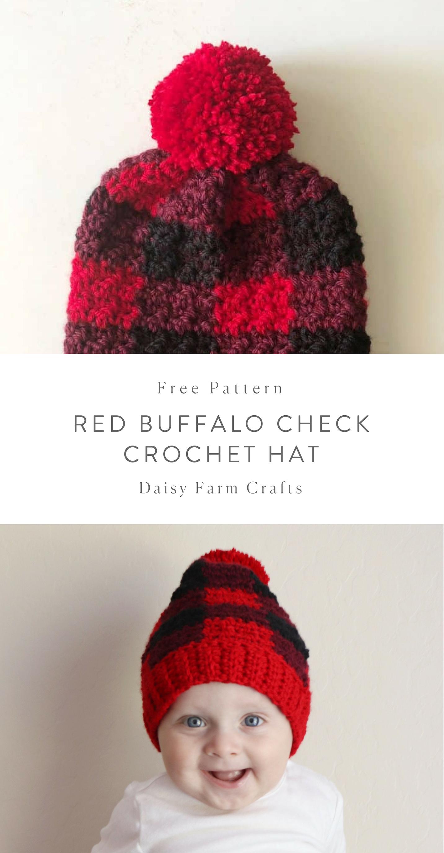 Free Pattern - Red Buffalo Check Crochet Hat | Beanie | Pinterest ...