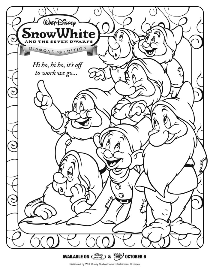 Snow White And The Seven Dwarfs Activity Sheets Snow White Coloring Pages Disney Coloring Pages Dinosaur Coloring Pages