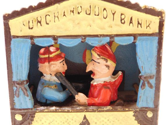 Punch and Judy Cast Iron Bank Reproduction by oldandnew8 on Etsy