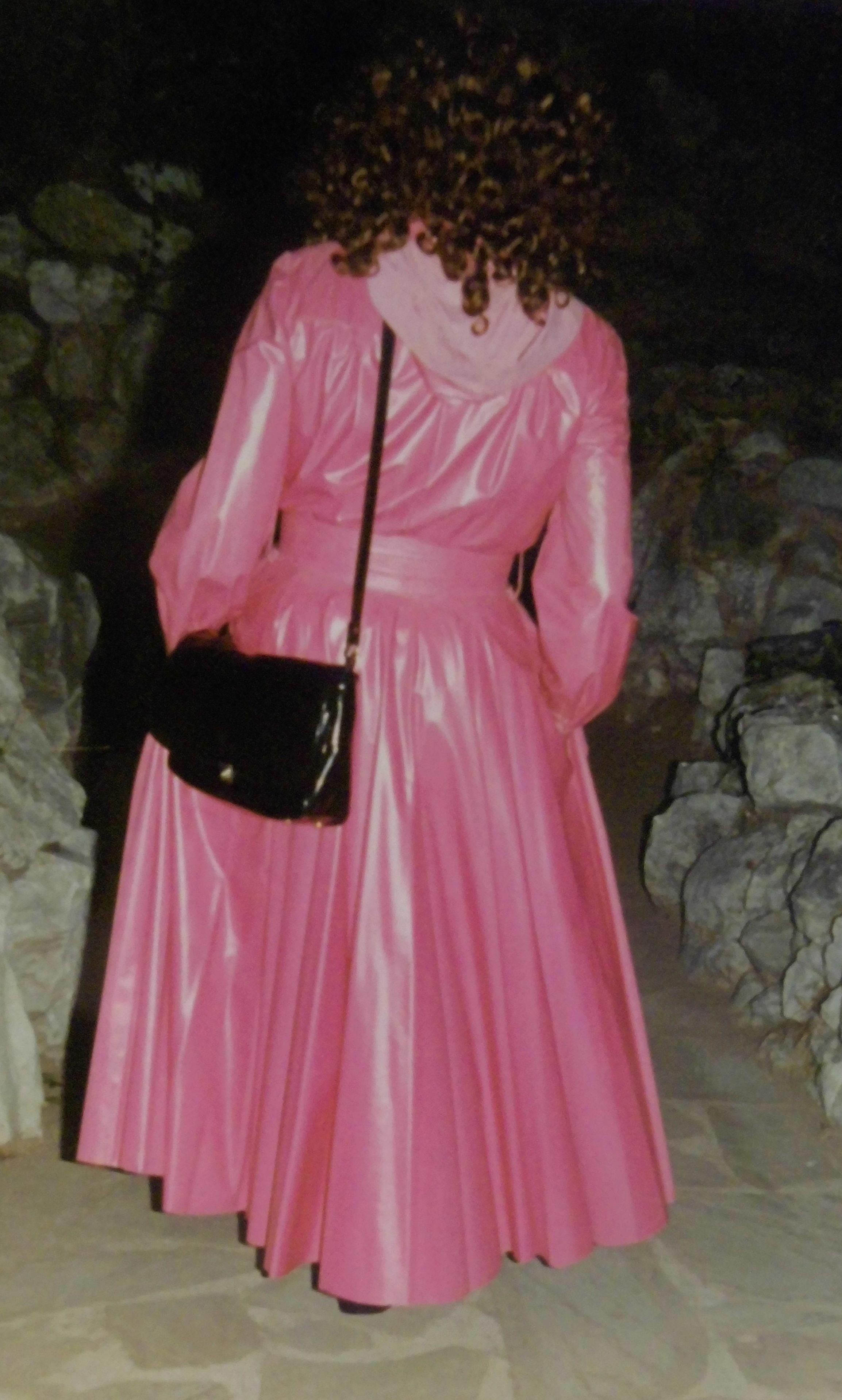 Dawn pink satin rubberised mack WomensquiltedRaincoat in