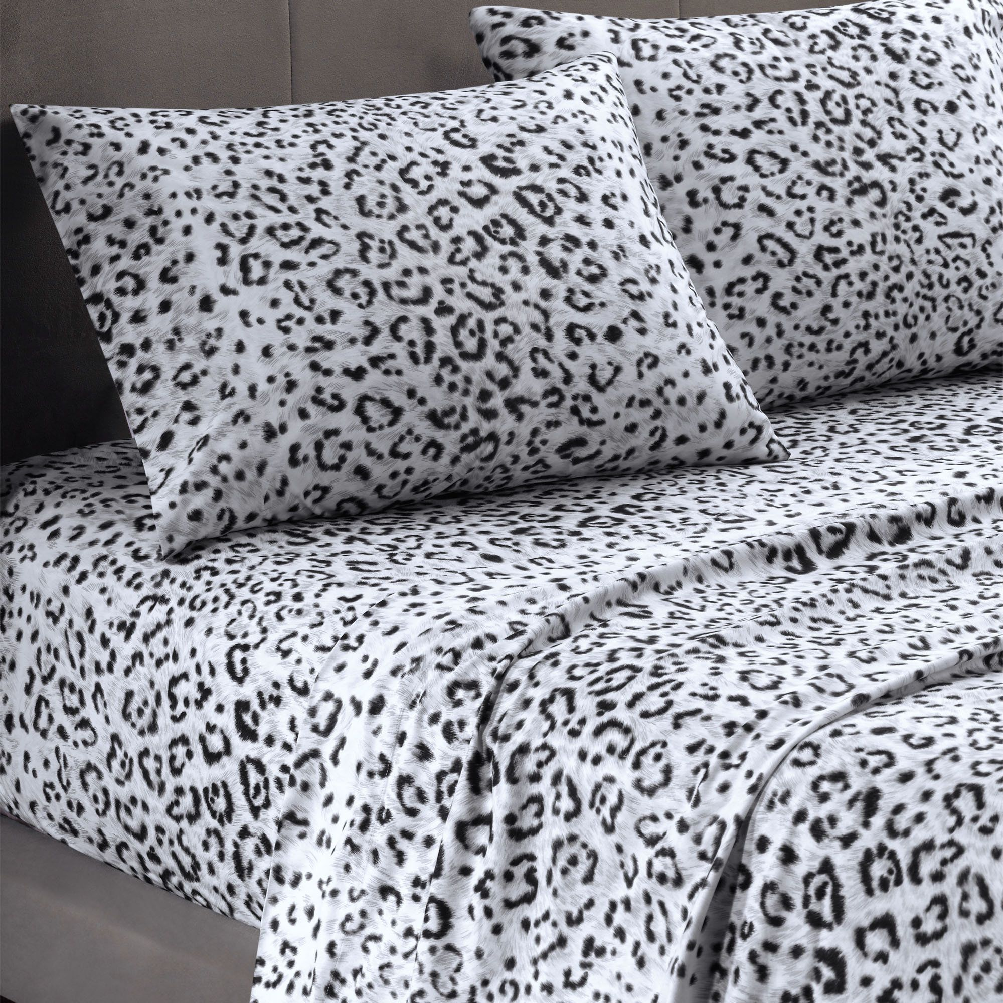 Leopard print and red bedding - Cozy Spun Snow Leopard Print Sheet Set