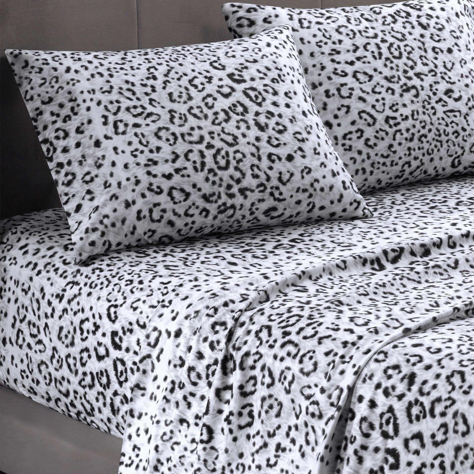 Cozy Spun Snow Leopard Print Sheet Set Bedding Animal