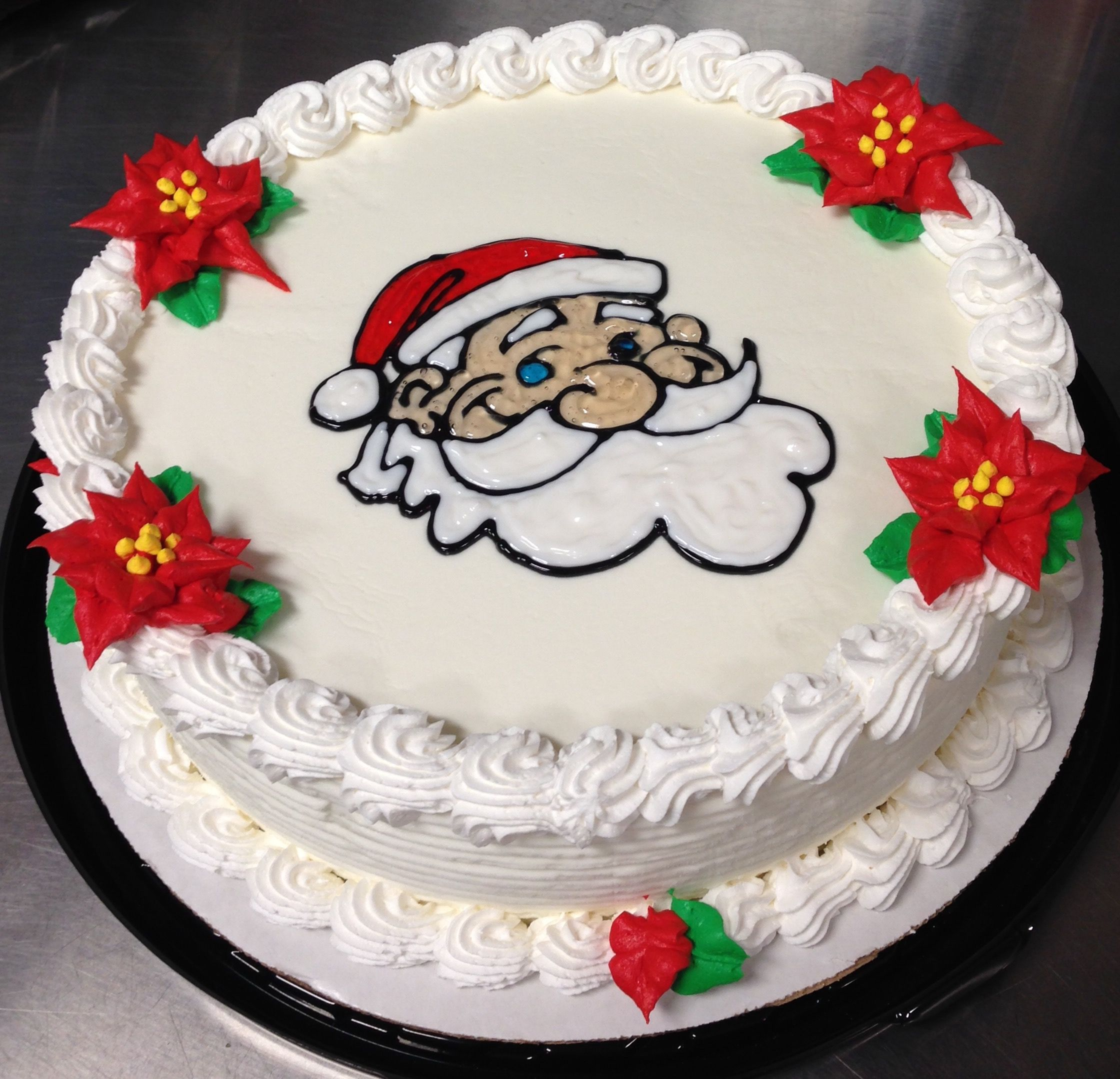 Santa Claus DQ Ice Cream Cake With Whipped Icing Poinsettias Is Gel Piping