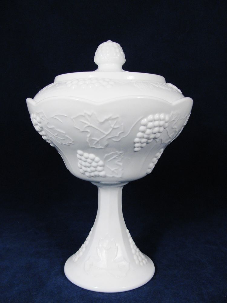 """INDIANA VTG White Milk Glass Grape Colony Footed Covered Compote Candy Dish  10"""" #Westmoreland"""