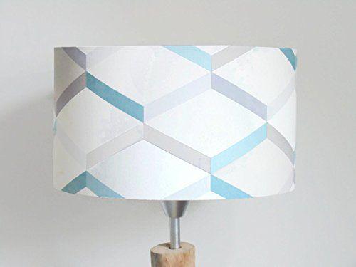 abat-jour motif géométrique scandinave bleu gris Luminaire chambre