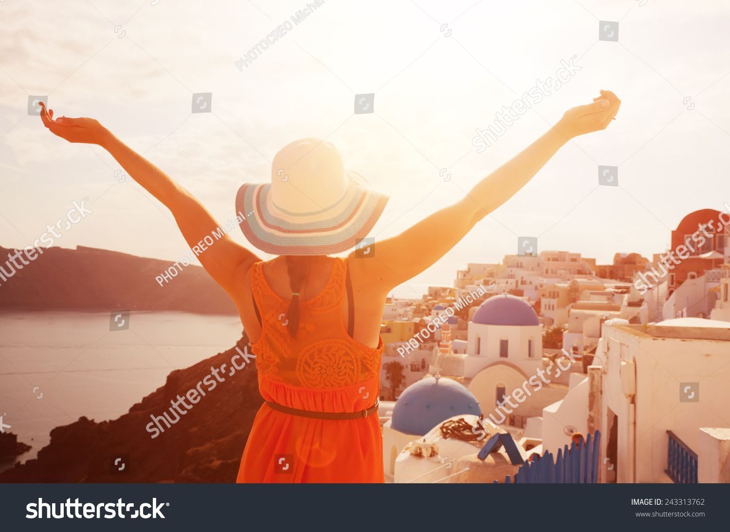 Happy woman in sun hat enjoying her holidays on Santorini, Greece. View on Caldera and Aegean sea from Oia. Active, travel, tourist concepts #Ad , #AFFILIATE, #holidays#enjoying#Greece#Santorini #aegeansea Happy woman in sun hat enjoying her holidays on Santorini, Greece. View on Caldera and Aegean sea from Oia. Active, travel, tourist concepts #Ad , #AFFILIATE, #holidays#enjoying#Greece#Santorini #aegeansea