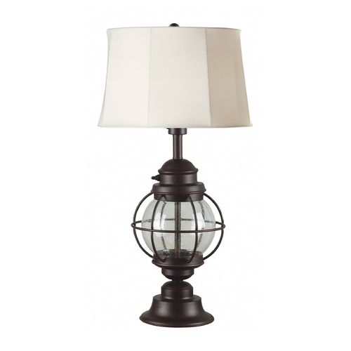 Nautical outdoor table lamp with shade