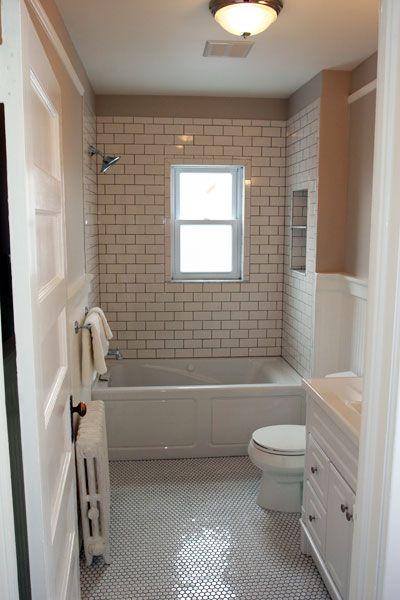 Tile Wainscoting Bathroom window with tile surround | bathroom remodel | pinterest | window