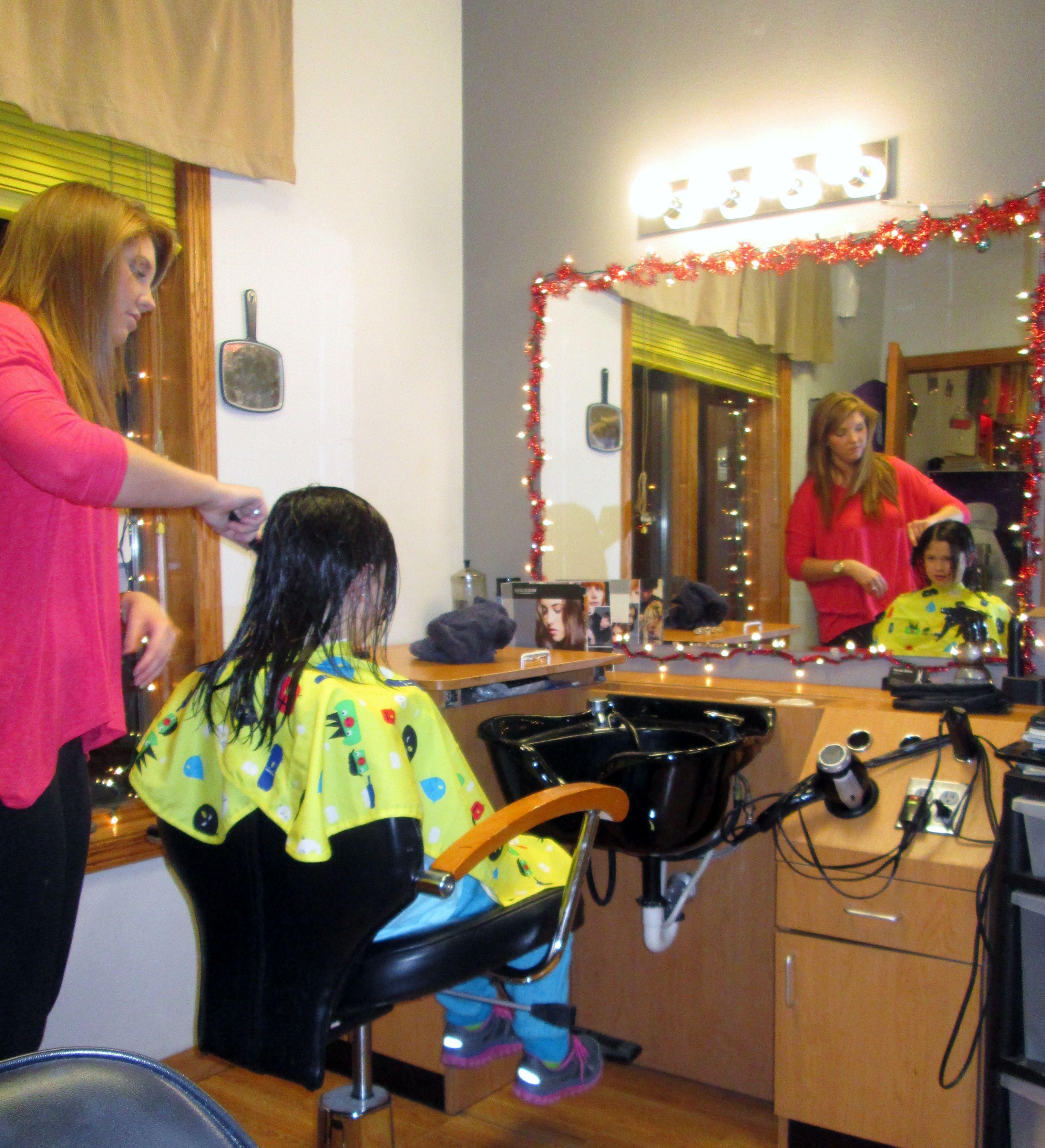Ladies haircut in barbershop