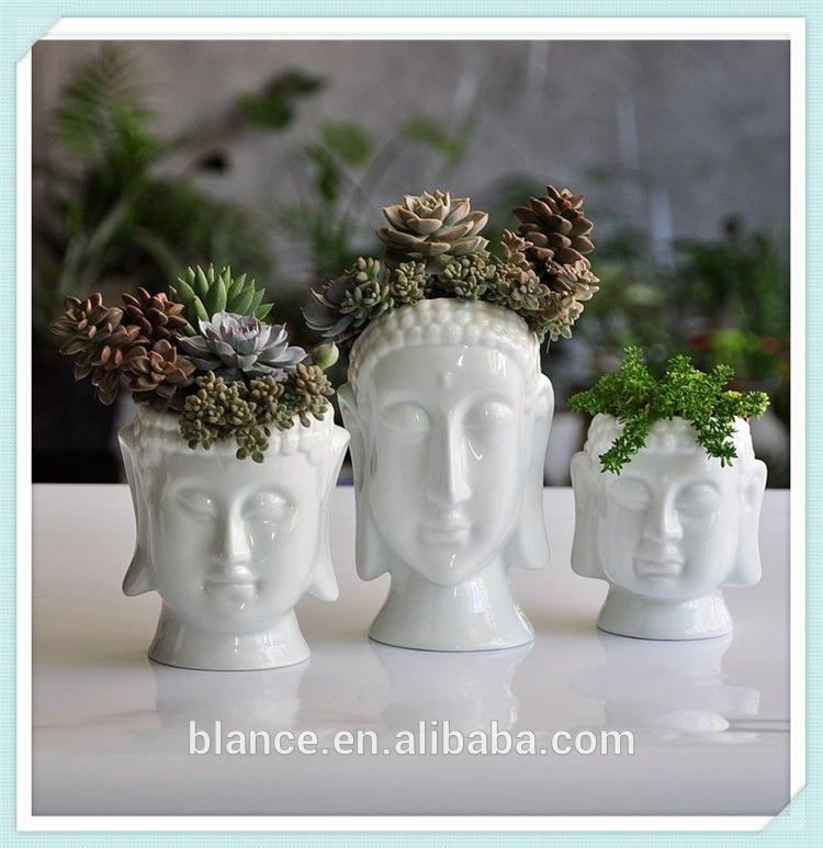 wholesale flower pots ceramic buddha plant pot head shaped