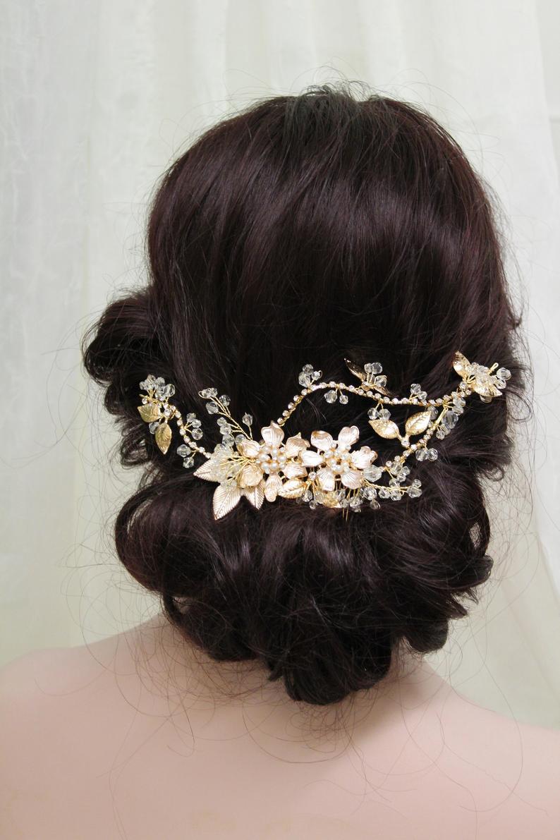 UK Floral Wreath Wedding hair accessory Bridal Back headpiece Silver Wedding Hair Vine Bridal hair vine Bridal Headpiece
