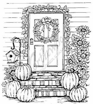 Northwoods rubber stamp pumpkin sunflower door for Pumpkin coloring pages for adults