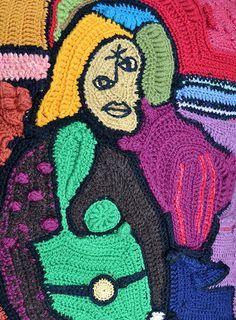 Inspired by Picasso, a freeform crochet pillow cover {Lykyt puikoilla: Vapaavirkkausta Picasson inspiroimana}