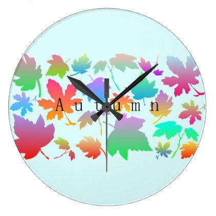 Colorful autumn leaves large clock - autumn gifts templates diy - clock templates