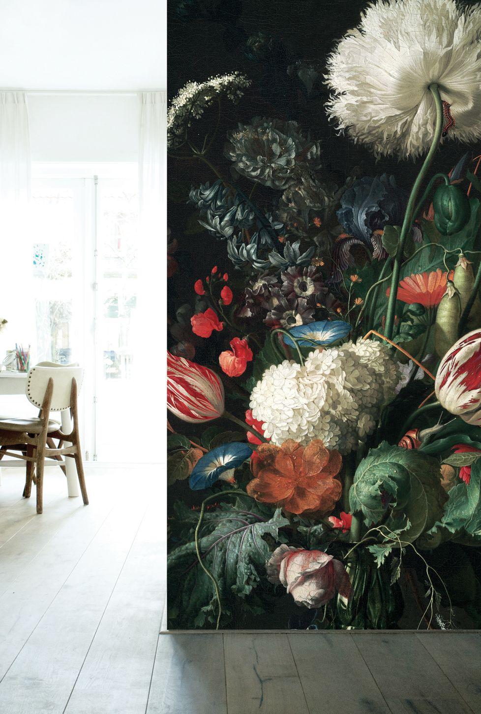 Fotobehang Golden Age Flowers Zijn Grote Kleurrijke