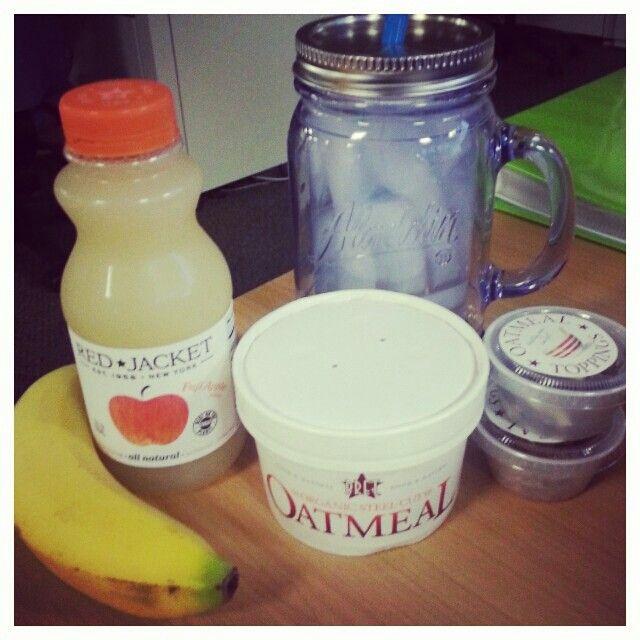 Breakfast of Champions. Oatmeal. Water. Orange juice. Banana.