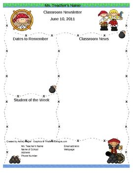 Pirate Pals Editable Newsletter Template  Pirate Theme
