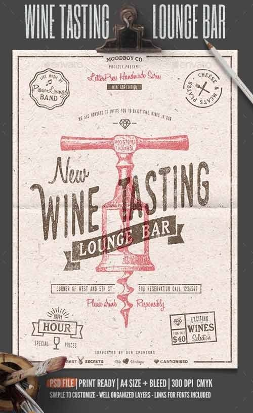 Wine Tasting Lounge FlyerPoster Free Psd Template  Party Flyer