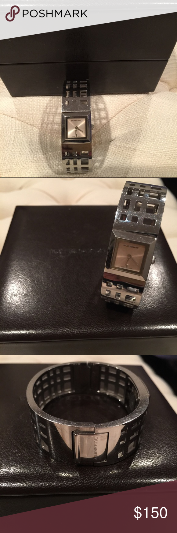 Burberry watch Burberry watch, not new. Has superficial mark on metal band. Battery operated. Burberry Other