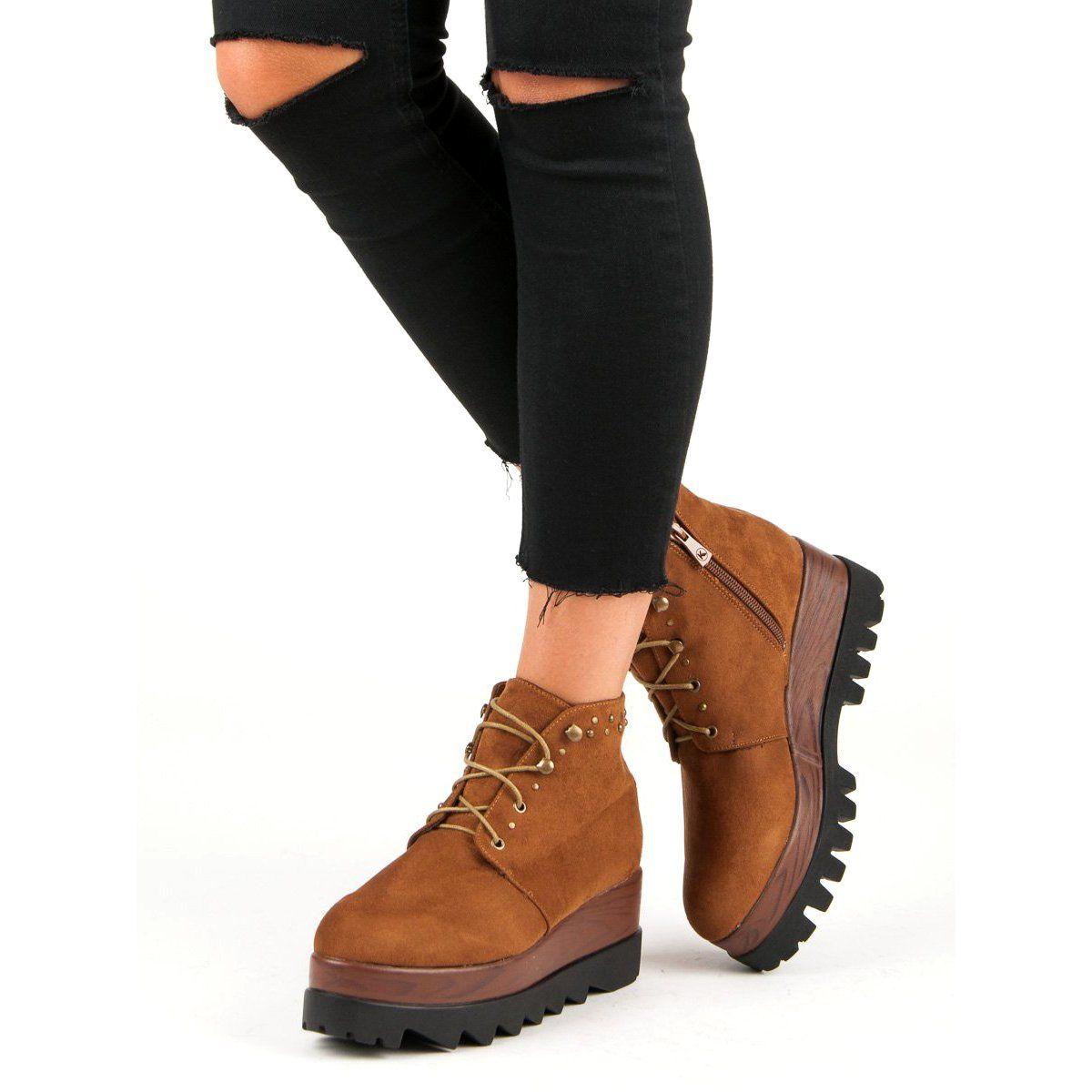 Zamszowe Kozaki Damskie Na Koturnie T81 Czarne Womens Suede Boots Womens Boots Boots