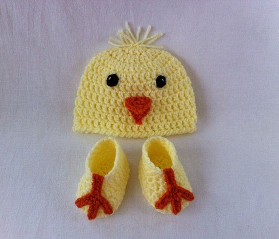 cbc20c834 Baby Spring Easter Chick Hat and Chick Feet Booties by ...