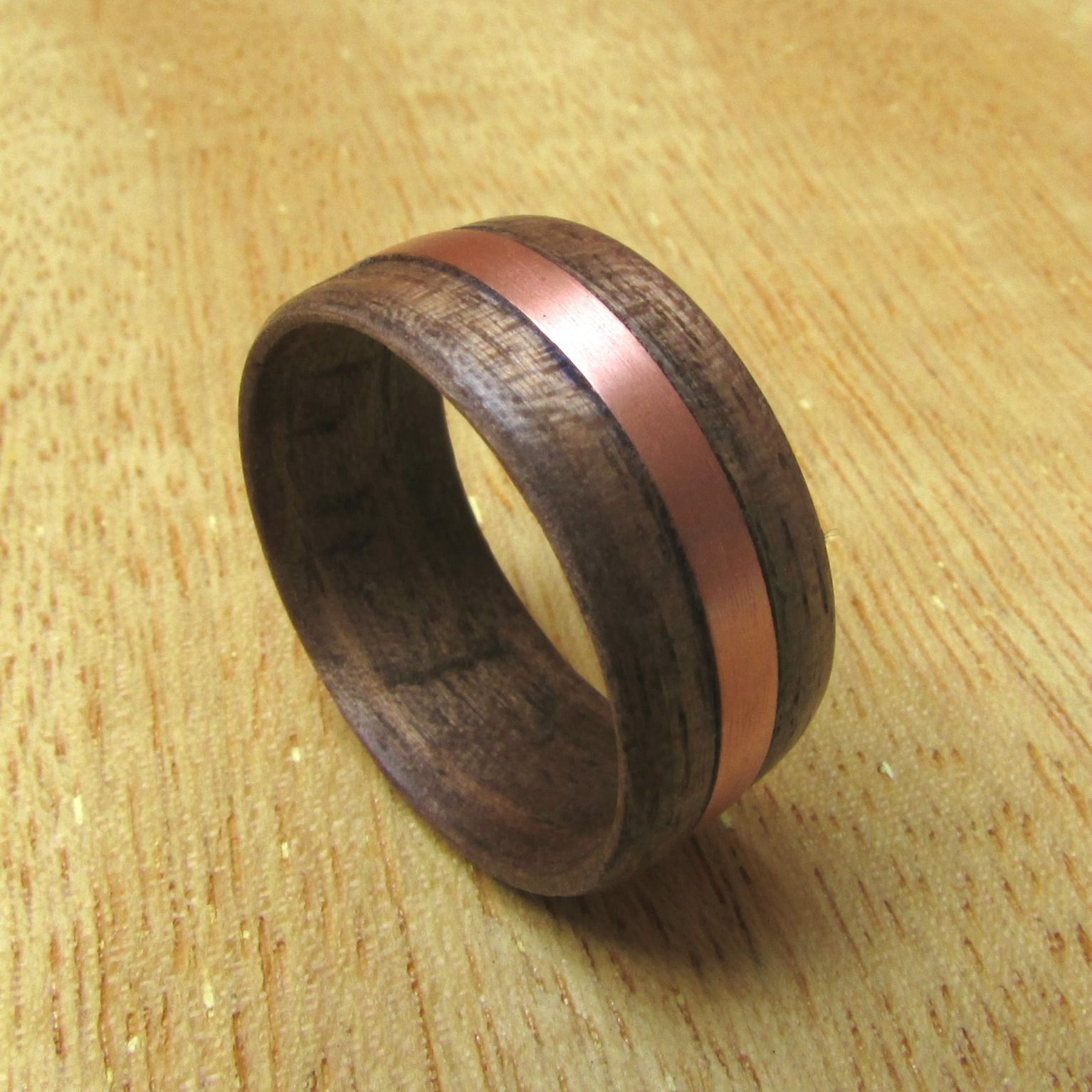 Wood And Metal Inlay Ring 5th Anniversary Gift For Husband