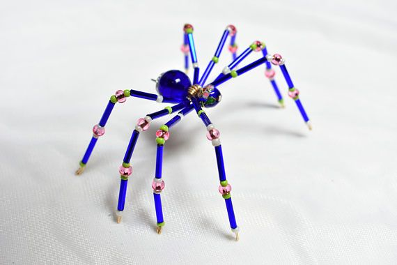 Medium sized royal blue pink green and flower on the beads make medium sized royal blue pink green and flower on the beads make this spider very pretty measurements 4 inch by 3 inch beaded spiders can spark many mightylinksfo
