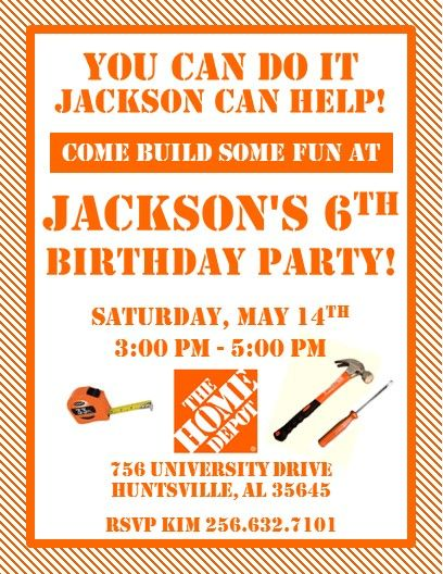 Home Depot Party Invitations 1 Home Depot Party Construction Birthday Parties Tool Party