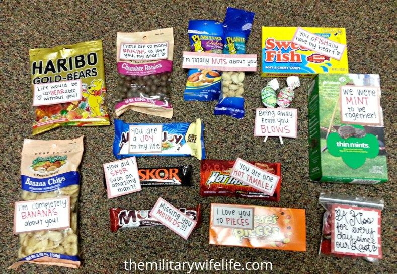Valentine's Day is coming soon, and for many of us that means it's time to get a care package together! Whether your loved one is deployed or simply away from home for the holiday, these ideas are sure to put a smile on their face. Just a warning: below are pictures from a care package …