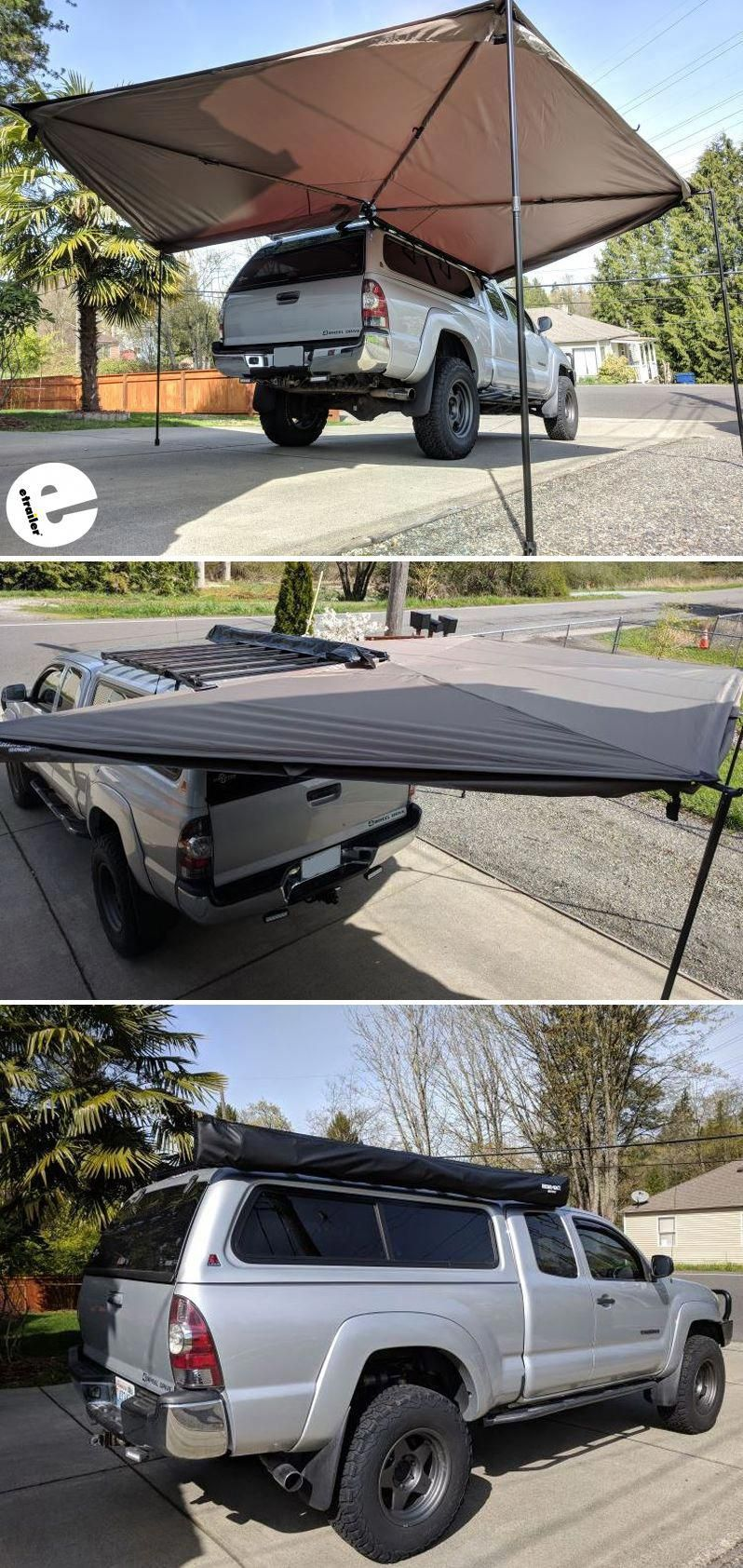 Easy To Operate This Roof Rack Mounted Awning Is Perfect For Tailgaters Campers And Tradesmen To Provide Shade Off Your Vehic Car Awnings Roof Rack Car Tent