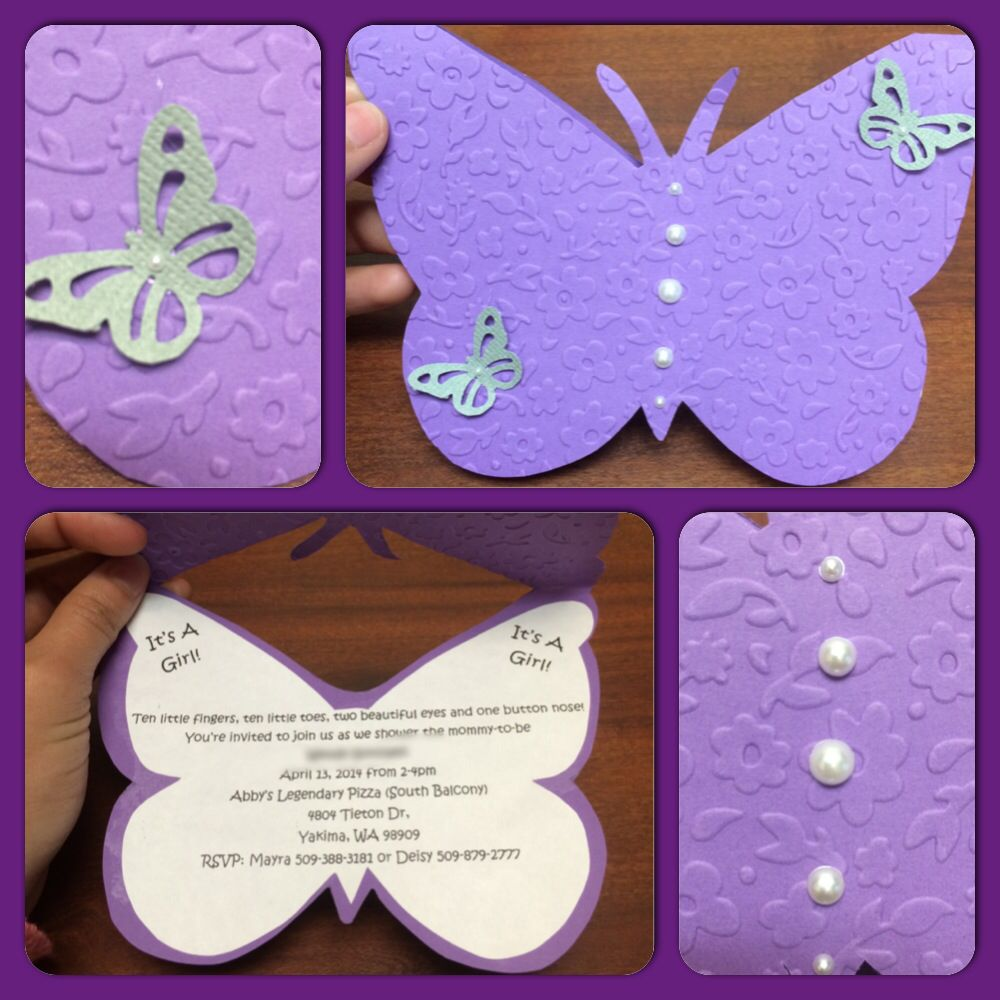 Purple butterfly babyshower invitations | Maysel\'s Creations ...