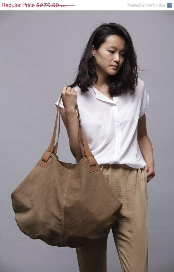 Brown leather bag- Soft leather bag - Big brown nubuck bag