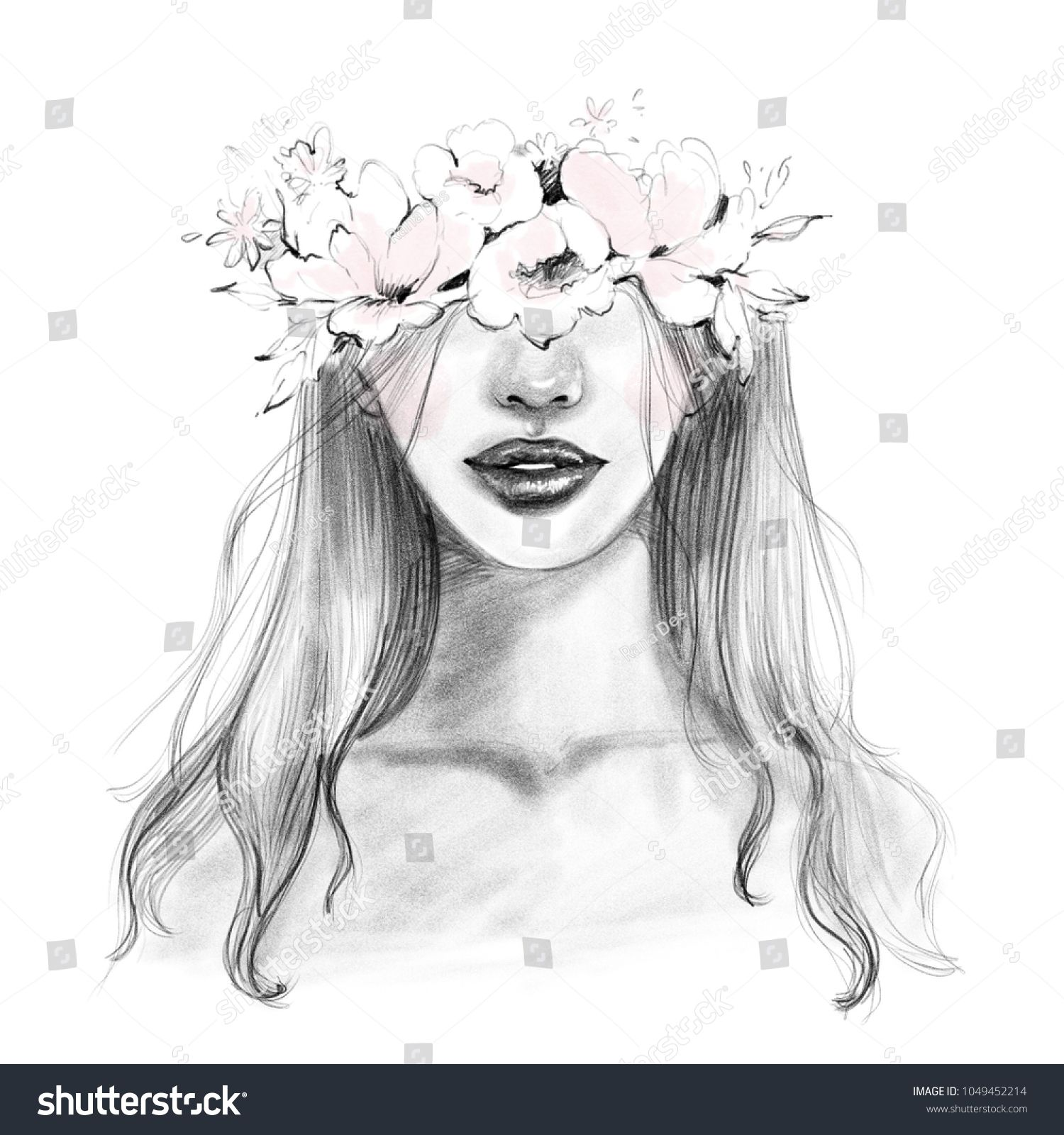 Abstract beautiful woman face portrait with flower wreath in