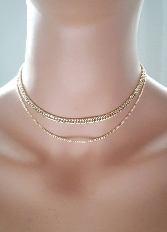 c1b2715dda169 Gold chain choker necklace,thick gold chain choker,multi chain ...