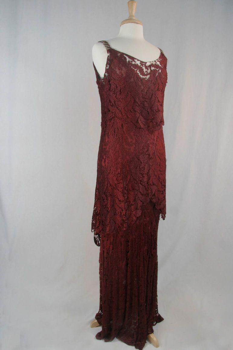 Lace dress vintage  Burgundy Lace Dress u  us  Gowns  Pinterest  Lace dress