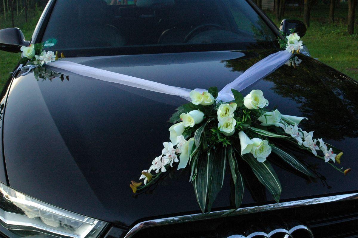 Autogirlande Rosen creme//grün Hochzeit zum Brautkleid neu Autoschmuck