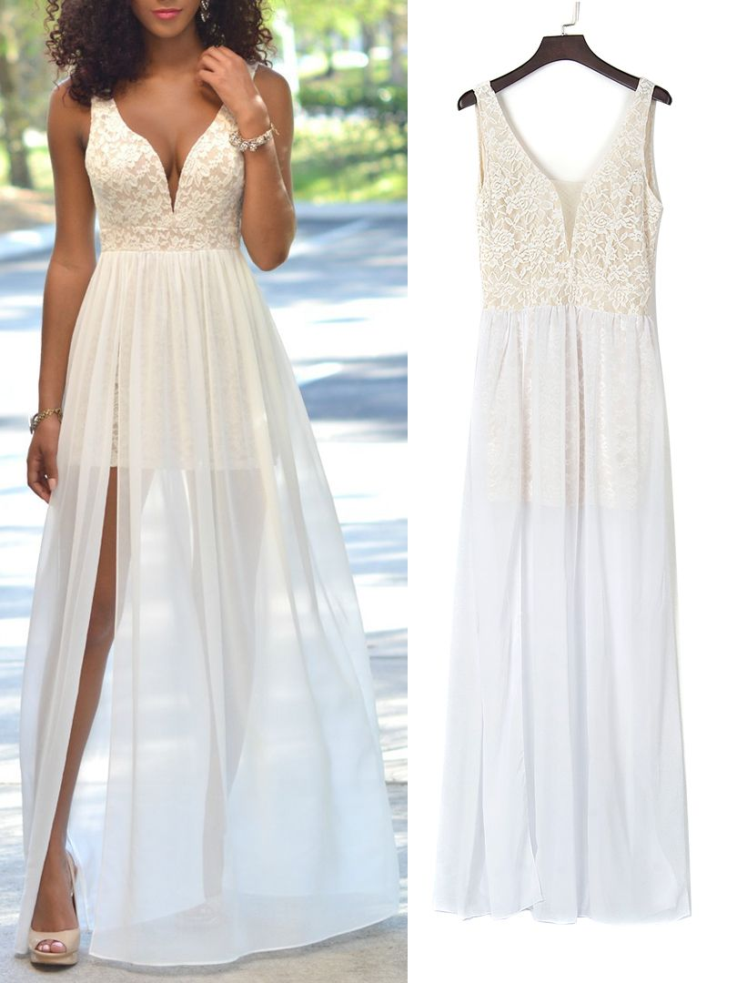 White plunge sheer tulle panel lace backless prom dress ii dresses