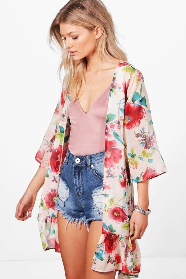 939c55704a0d87 Petite Amber Tie Waist Kimono | droppin it like its hot | Boohoo ...