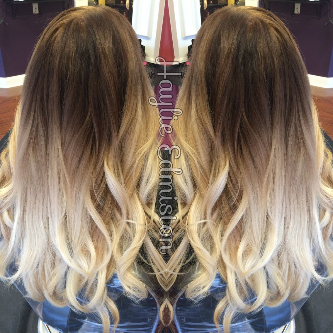High contrast brown to blonde ombre obsessed with this - Blond braun ombre ...