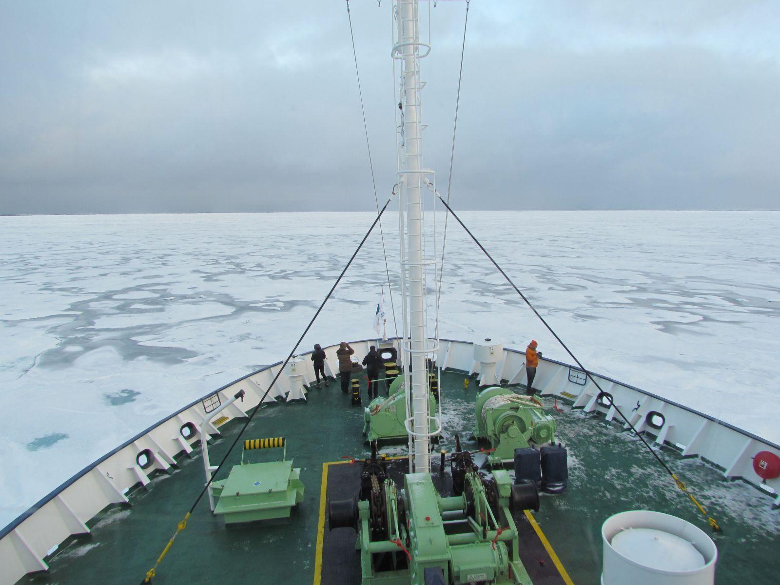 Ortelius Sailing Through The Ice In The Arctic