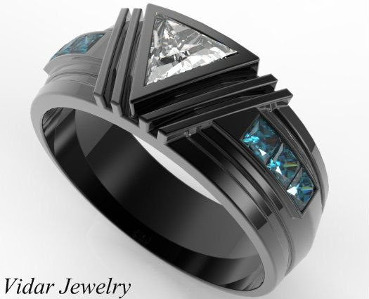 Men S Wedding Band Black Gold Triangle Diamond Ring For A