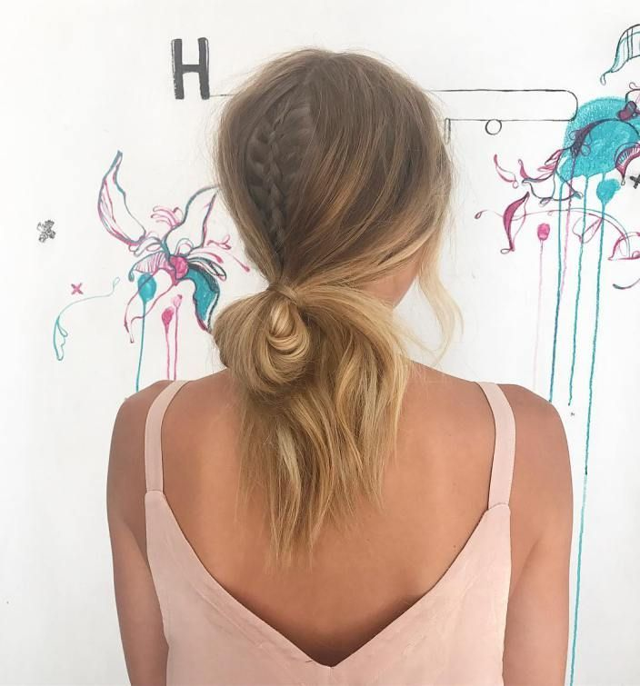 Low Looped Ponytail With Braided Accent Diy Hairstyles Pinterest