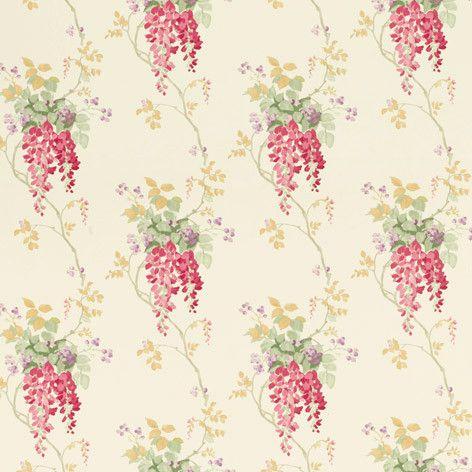 Laura Ashley Wisteria Cranberry Floral Wallpaper