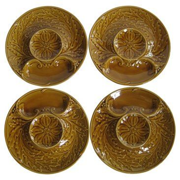 Check out this item at One Kings Lane! French Majolica Artichoke Plates, S/4